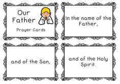 FREE Our Father prayer cards. Use for whole class prayer, get all the kids involved.