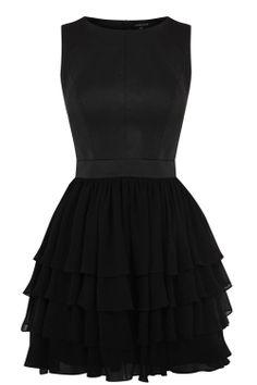 Leather + chiffon = little black dress of triumph... OMG CUTE