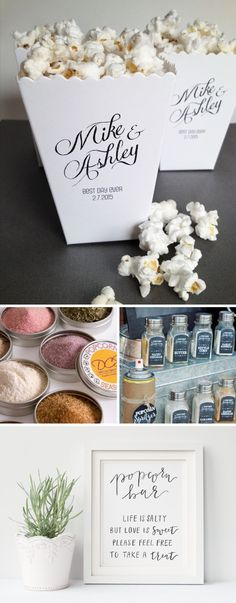 Top 10 Dessert Table or Candy Bar Alternatives Popcorn Bar Party, Wedding Popcorn Bar, Wedding Food Bars, Dessert Bar Wedding, Candy Bar Wedding, Wedding Games, Wedding Party Favors, Wedding Desserts, Dessert Table