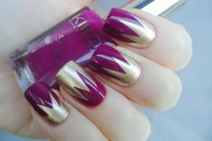 Purple and gold tape nail art Funky Nails, Crazy Nails, Crazy Nail Designs, Nail Art Designs, Nails Design, Toe Designs, French Nails, Hair And Nails, My Nails