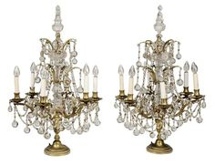 Large Pair Brass and Crystal : Lot 213