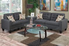 2 pc Collette collection blue grey faux linen fabric upholstered sofa and love seat set. Features a tufted seat and back. Sofa measures x x H. Love seat measures x x H. Some assembly required. Studio Furniture, Furniture Layout, Living Room Furniture, Home Furniture, Furniture Sets, Modern Furniture, Furniture Outlet, Furniture Stores, Online Furniture