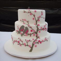 This is a lot like what my wedding cake was supposed to look like, but without birds.  *Sigh*