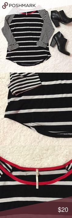 Nine 1 Eight Red Black  Stripe 3/4 Baseball Tee Size large. Very good condition. nine 1 eight Tops Tees - Long Sleeve