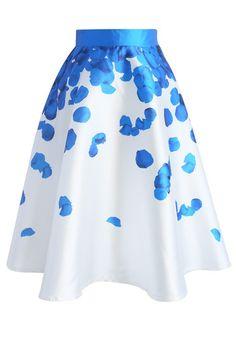 Blue Rose Petals Printed Midi Skirt - New Arrivals - Retro, Indie and Unique Fashion