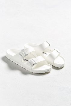 Shop Birkenstock Arizona EVA White Sandals at Urban Outfitters today. White Sandals, Shoes Sandals, Flats, Heeled Sandals, Strappy Shoes, Flat Sandals, Shoes Sneakers, Cute Shoes, Me Too Shoes