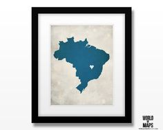 Brazil Map Print - Home Town Love - Personalized Art Print Available in Multiple Size and Color Options by WORLDofMAPS on Etsy