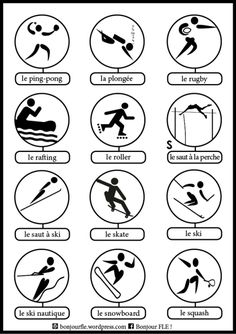 L'alphabet du sport French Language Course, French Language Lessons, French Language Learning, French Lessons, Ap French, Core French, French Stuff, Teaching French, French Tips