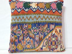 Handwoven Anatolian Kilim Pillow Cover  Multicolor by DECOLIC, $55.00