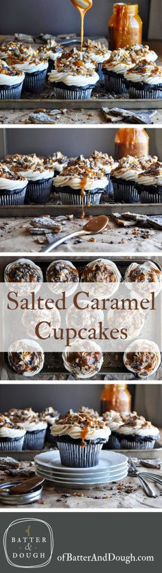 Delicious Salted Caramel Cupcakes Recipe from ofbatteranddough.com
