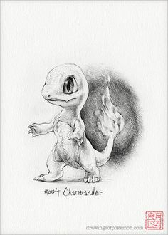 Charmander  5 x 7 print pokemon drawing art by DrawingsofHeroes, $9.00