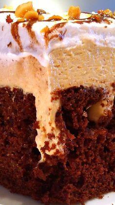 Chocolate Peanut Butter Pie Poke Cake.