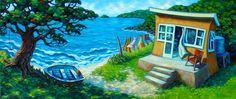 Original Artwork of Little Cove Bach by NZ Artist Rachel Olsen. Featured artist from The Gallery of Fine Arts in the Coromandel Jr Art, Bondi Beach, Contemporary Artwork, Beach Art, Olsen, Home Art, New Zealand, Giclee Print, Original Artwork
