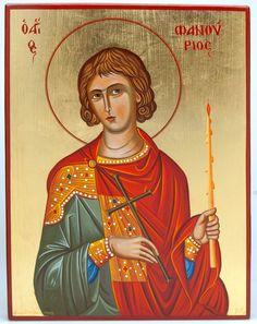 St Phanourios, by Monk Vasilios Simigdalis: Byzantine Art, Orthodox Christianity, Art Icon, Orthodox Icons, Roman Catholic, Wood Art, Saints, Artwork, Artist