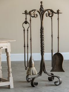 Set Of French Forged Iron Fireplace Tools Belle Époque Period Circa 1920