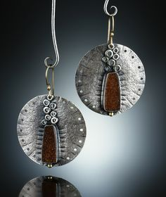 Druzy Quartz Earrings. Fabricated Sterling Silver, 14k and 18k. www.amybuettner.com https://www.facebook.com/pages/Metalsmiths-Amy-Buettner-Tucker-Glasow/101876779907812?ref=hl https://www.etsy.com/people/amybuettner http://instagram.com/amybuettnertuckerglasow