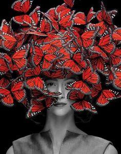 Beautiful butterflies / karen cox. Alexander McQueen Butterfly Hat #NMArtofFashion mask with skull underneath?