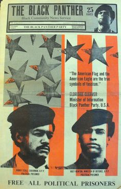 """""""The American flag and the American eagle are the true symbols of fascism"""" ~ Eldridge Cleaver, Minister of Information, Black Panther Party, U. The Black Panther, January 1970 Black History Facts, Black History Month, Black Panther History, History Pics, Emory Douglas, Revolutionary Artists, Black Panthers Movement, Protest Art, Protest Posters"""