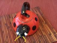 Price $32.00 - Whimsical Ladybug tea kettle enamel on steel Our adorable Ladybug tea kettle is certain to perk up your morning This quality enamel on stainless steel kettle holds 2.5 Qt and is made with specially treated plastic handles that will not get too hot to handle - no matter what type of stovetop you are...