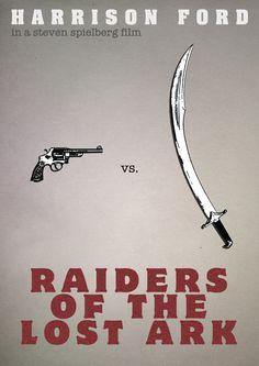 Indiana Jones, Raiders of the Lost Ark minimalist movie poster