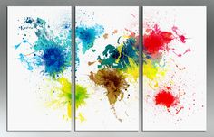 """60x40 (20x40 each panel) - OVERSTOCK - Colorful Abstract World Map - 3 Panel Split Canvas Print-Triptych. 1.5"""" deep frames. Bright colors. by CanvasQuest on Etsy https://www.etsy.com/listing/227485886/60x40-20x40-each-panel-overstock"""