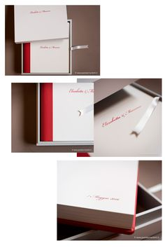 Elisabetta&Massimo Cover: Metal Paint Touch White Back and spine: Red Leather Design Box: Touch White (outside) and Brilliant Linen Silver (inside) Ribbon: White Album created by Graphistudio for Paolo Bernardotti Studio Italian Luxury Brands, Wedding Albums, Leather Design, Box Design, Luxury Branding, Red Leather, Our Wedding, The Outsiders, Ribbon