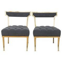 Amazing Pair of William Haines Polished Brass Chairs