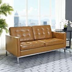 Modway Loft Leather Loveseat in Tan Modern Leather Sofa, Leather Loveseat, Tan Leather, Mid Century Modern Loveseat, Mid Century Modern Design, Beautiful Sofas, Star Wars, Living Room Designs, Mid-century Modern