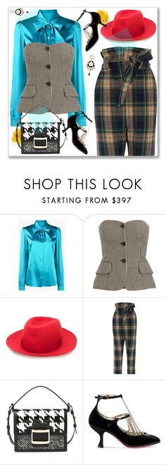 """""""Fall Flair"""" by nantucketteabook ❤ liked on Polyvore featuring Dolce&Gabbana, Borsalino, Vivienne Westwood Anglomania, Roger Vivier, Gucci, Poporcelain, Fall, plaid, satin and fallfashion"""