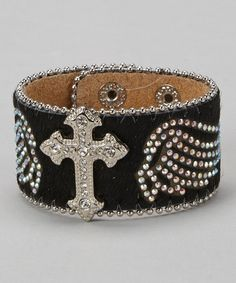 Another great find on #zulily! Black Hair on Hide Cross Wings Leather Bracelet #zulilyfinds