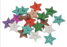 A personal favourite from my Etsy shop https://www.etsy.com/uk/listing/533671595/20-wooden-star-buttons-184mm-two-hole