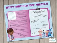 DIY Printable Doc McStuffins Happy Birthday Party Guest Book 11X14 Poster PDF - by Carta Couture. $12.00, via Etsy.