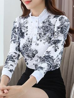 Casual Ruffled Long Sleeve Guipure Lace Blouse - PopJulia.com