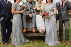 Bridesmaids in silver dresses with pink dahlia bouquets // Bride and Bloom // Emma Case Photography // The Natural Wedding Company