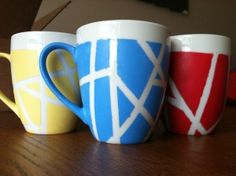 Tape painted coffee mugs « Crafting and Cooking