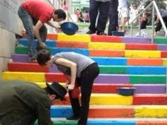Istanbul, where the citizens are repainting public stairways.