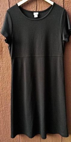 LL Bean Black Pullover Casual Summer Shift Dress Sz M Petite Cotton Modal Blend #LLBean #Shift