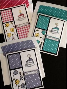 Stampin Up Birthday Versions measurements for pieces: 4x5.25 black 3x2 and 2 7/8x1 5/8 white 2x1.75 and 1 5/8x1 15/16 dsp