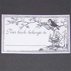 bookplate ~ fox and raven reading