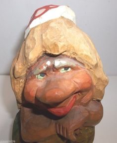 "#Art Sculpture: #FreeShipping Vintage Carved Wood Troll Norway Girl Mushroom Cap 7.75"" http://ift.tt/1YM5knp (via @zedign)"