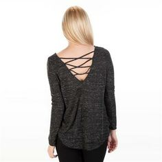 Dry Goods- Lush Juniors Knit Top with Criss-Crossed Back