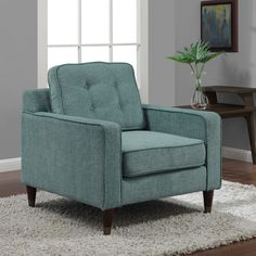 $350 - Jackie Aqua Arm Chair - Overstock™ Shopping - Great Deals on Living Room Chairs
