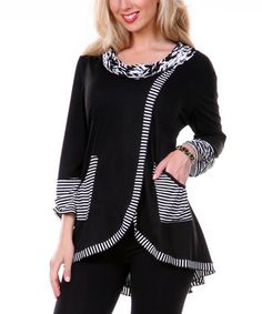 Another great find on #zulily! Black & White Stripe Hi-Low Tunic by Lily #zulilyfinds
