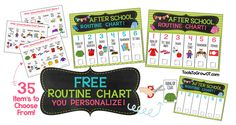 FREE After School Routine Chart - PERSONALIZE! From Tools to Grow