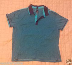 men casual shirts for sale : HUGO BOSS men size M #POLO style blue with black cotton shirt NEW no tags SLIM HugoBoss withing our EBAY store at  http://stores.ebay.com/esquirestore