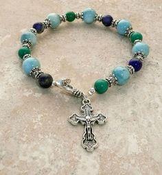 Natural Lapis Lazuli Larimar Quartz Turquoise Antique Silver Religious Bracelet #HANDMADE #Beaded