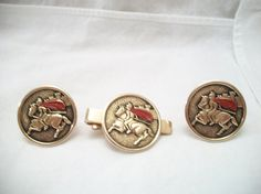 Vintage Midieval Knight on Horse Cufflinks Tie by ALEXLITTLETHINGS