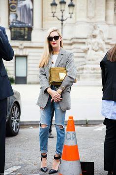 jeans & blazer chic. Joanna Hillman in Paris.