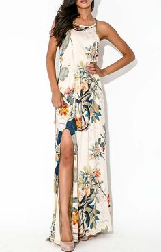 Apricot Sleeveless Front Split Florals Maxi Dress 15.00