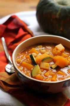 Warmly spiced Moroccan chickpea and butternut squash soup for those nights when you need something to cozy up to.